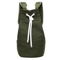 Casual Men Canvas Backpack Large Capacity Barrel Backpack Sport Basketball Bag Army Green String Drawstring