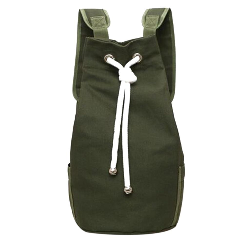 Casual Men Canvas Backpack Large Capacity Barrel Backpack Army Green String Drawstring Daypack For Men Back Pack Backpacks 2018
