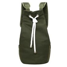 Повседневное Для мужчин холст рюкзак большой Ёмкость Баррель Рюкзак Армейский зеленый строка drawstring рюкзак для Для мужчин Back Pack Рюкзаки 2018