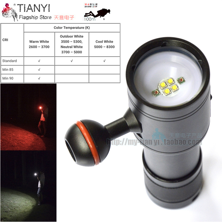 4 White Cree LED 2 Red LED Diving flashlight Video LED Flashlight Scuba Photography Lamp light torch Photography Waterproof sport car style 2 led white light flashlight keychain w sound effect red 4 x lr41