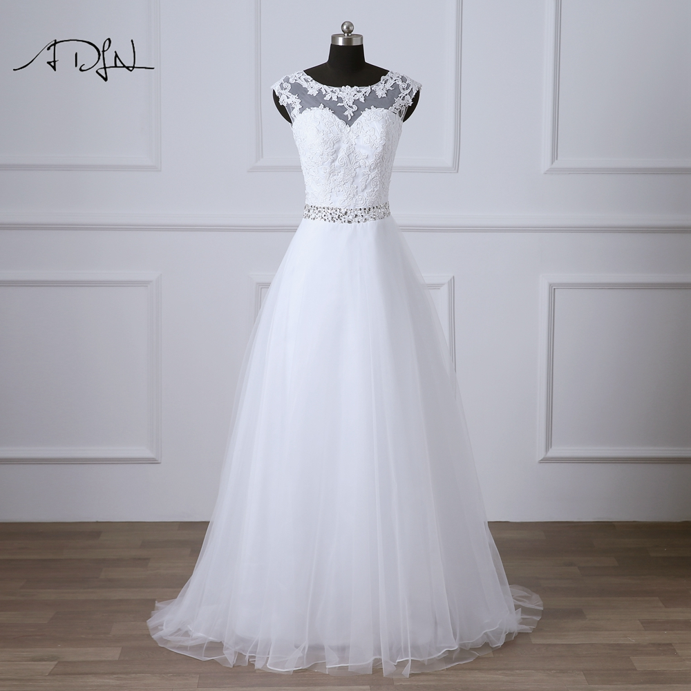 ADLN Scoop Cap Sleeve A-line Wedding Dresses White/Ivory Beaded Bridal Gowns Plus Size Robe De Mariee