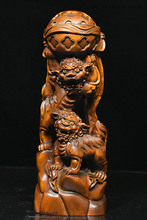 wedding decoration Chinese Folk FengShui Boxwood Wood Carved Two Foo Dog Lion Play Ball Statue