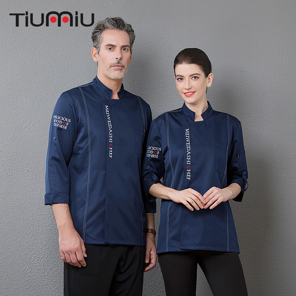 Unisex Adjustable Long Sleeve Top Restaurant Cooking Jacket Kitchen Hotel Waiter Cafe Bakery Chef Uniforms Food Service Overalls