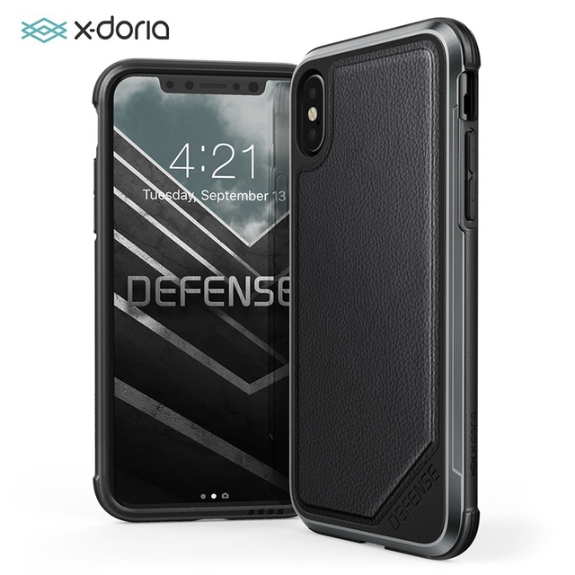 X Doria Defense Lux Phone Case For iPhone XS X Military Grade Drop Tested Anodized Aluminum Protective Case Cover For iPhone X