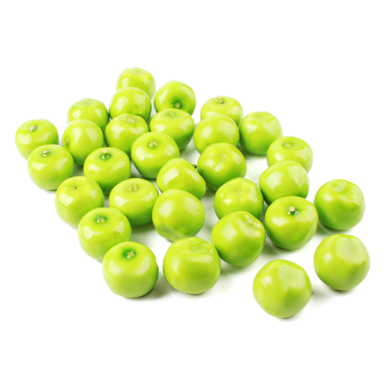 Home 30pcs Pack Tiny Small Fake Green Mini Apples Plastic Artificial Fruit House Party Kitchen
