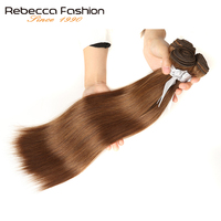 Rebecca 1 Bundle Deals Straight Hair Peruvian Hair Weave Bundles Color 6 Brown 100 Remy Human