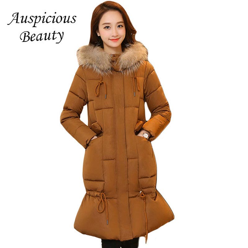 High Quality New 2017 Women Large Fur Hooded Winter Jacket Parkas Female Long Slim Elegant Mermaid Thicken Warm Coats CXM203 new winter jacket coats 2017 women parkas long slim thicken warm jackets female large fur collar hooded cotton parkas cm1350