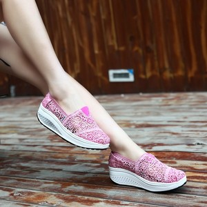 Image 4 - 2019 Summer Ladies Platform Shoes Hollow Lace Shallow Flat Shoes Women Black Sneakers Walking Swing Shoes Breathable Fashion