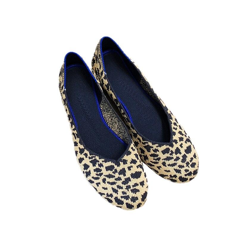 Tête Printemps Fond Léopard Respirant Weaver Chaussures Simples Plat Paresseux Ronde Femelle D'été Mou Vol 1 qjSpLUMVzG