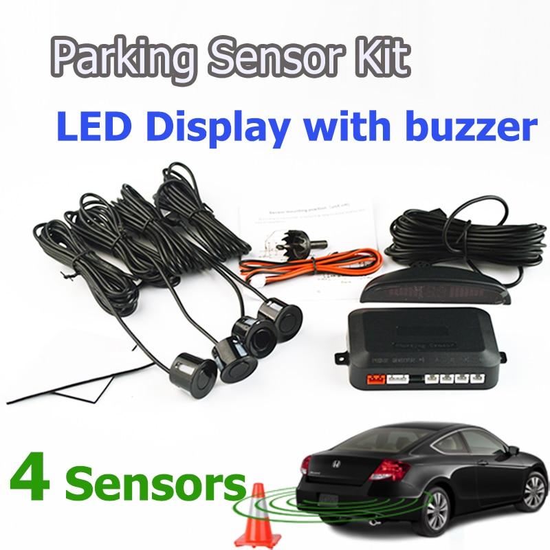 imágenes para Kit de coche LED Sensor de Aparcamiento 4 Sensores 22mm Retroiluminación de la Pantalla Del Radar de Reserva Reversa System Monitor 12 V 7 Colores envío Gratis