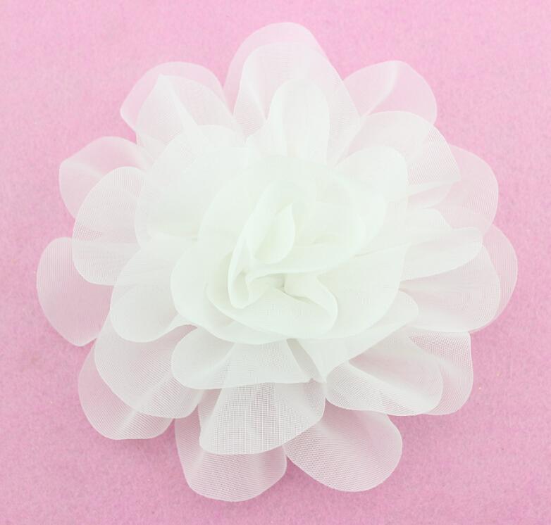 6 chic chiffon flor decor dobre flor artesanal branco grande flor para diy - Flor Decor