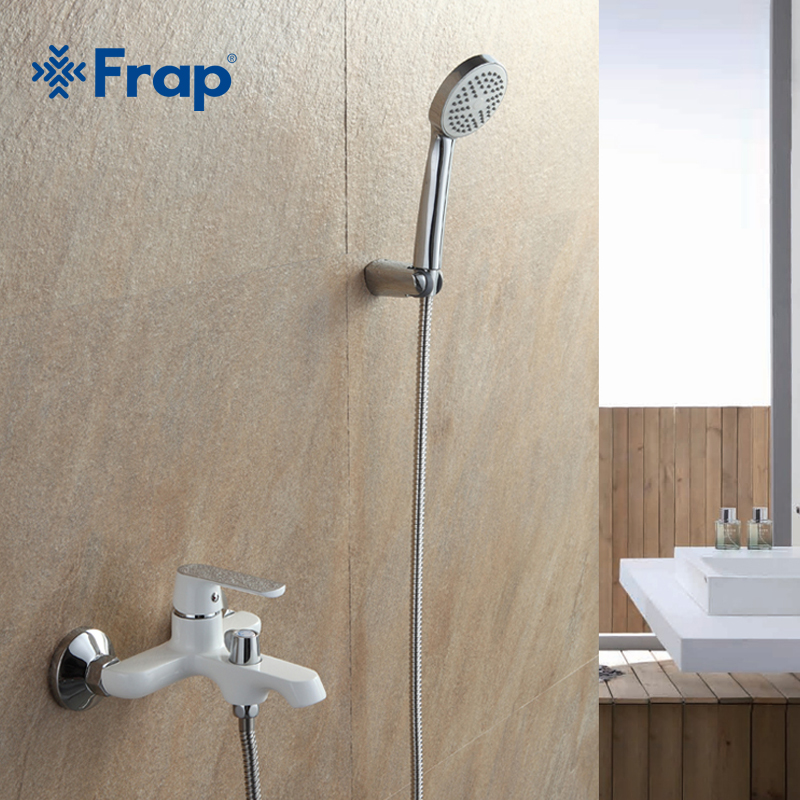 Buy New Arrivals White Bathroom Shower Brass Chrome Wall Mounted Shower Faucet