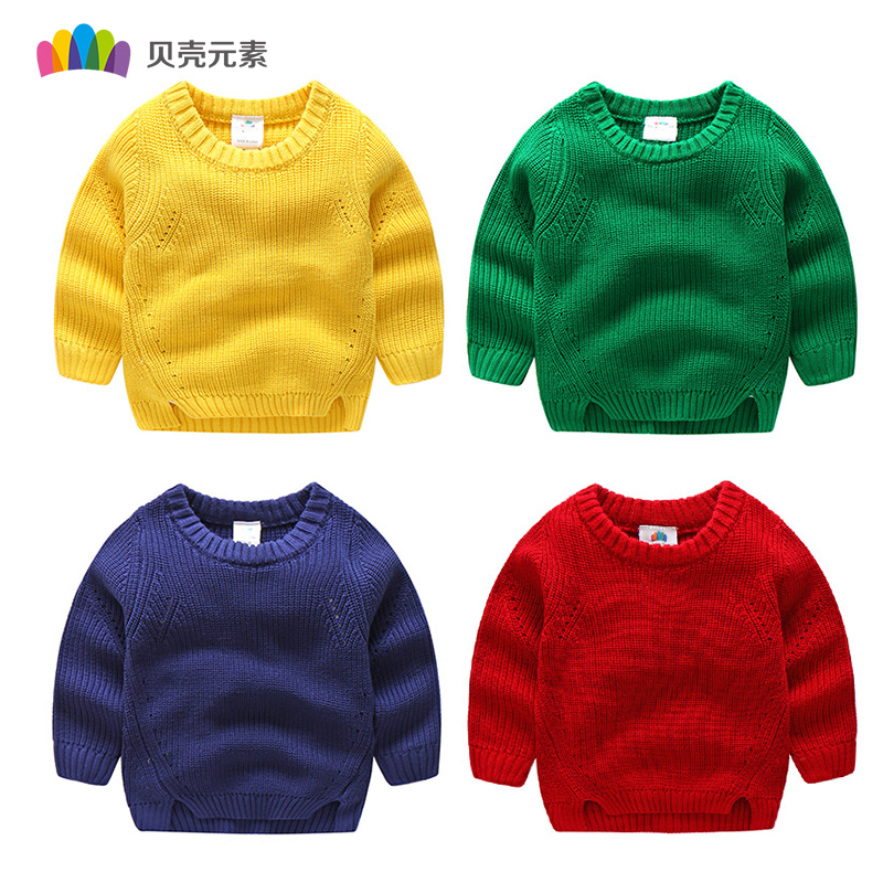 Children Girls Boys Sweaters Winter 2017 New Kids Long Sleeve Knitted Tops Baby Autumn Solid Color Sweater For Girl Boy autumn winter baby hats new fashion children warm ball hat double color boys and girls cotton caps beanies baby knitted hat