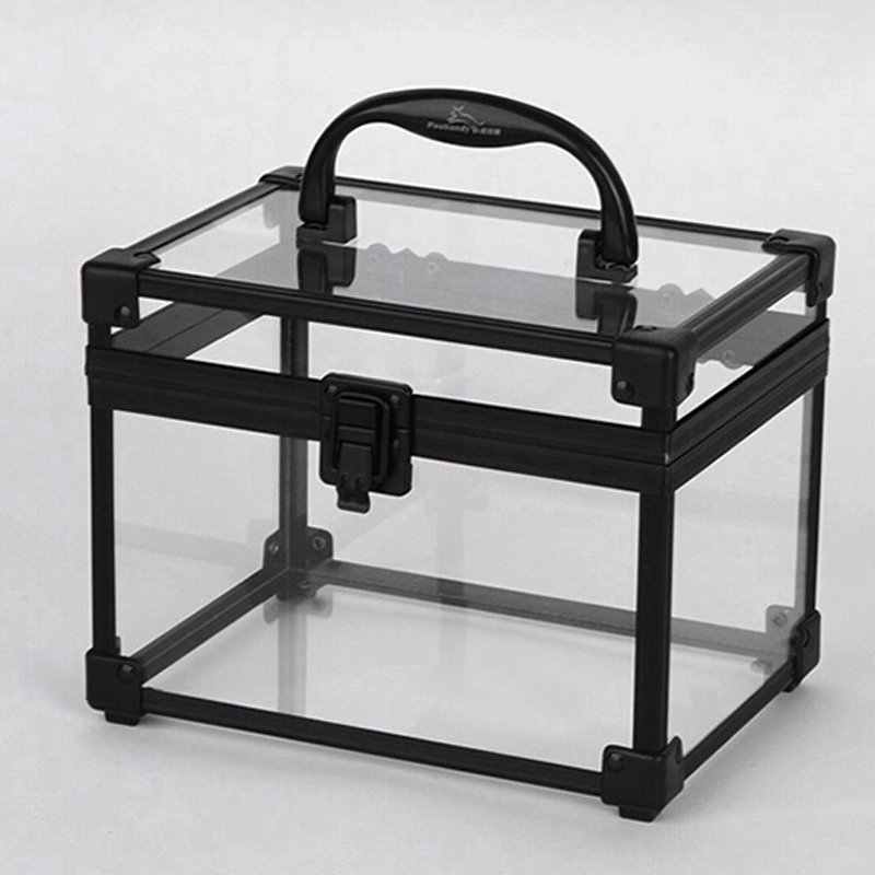 Fashion Clear Acrylic Black Aluminium Makeup Cosmetic Organiger Lucite Beauty Storage Boxes CC002
