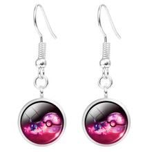 Women Glass Earrings Silver Plated Pokemon Pokeball Long Drop Earrings Cabochon Dangle Earrings Fashion Jewelry Hot Sale