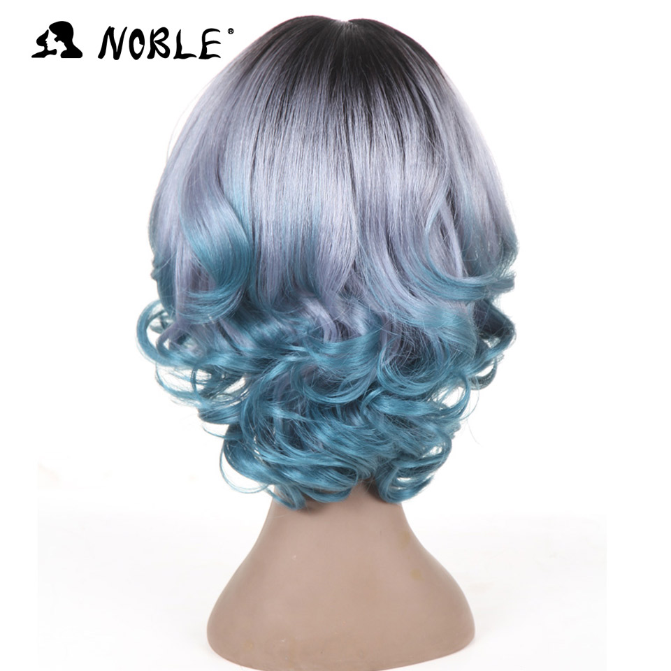 Noble U Lace Front Wigs 12 Inch Wavy Wave Short Green Grey Synthetic Cosplay Wigs For Black Women Heat Resistant Free Shipping
