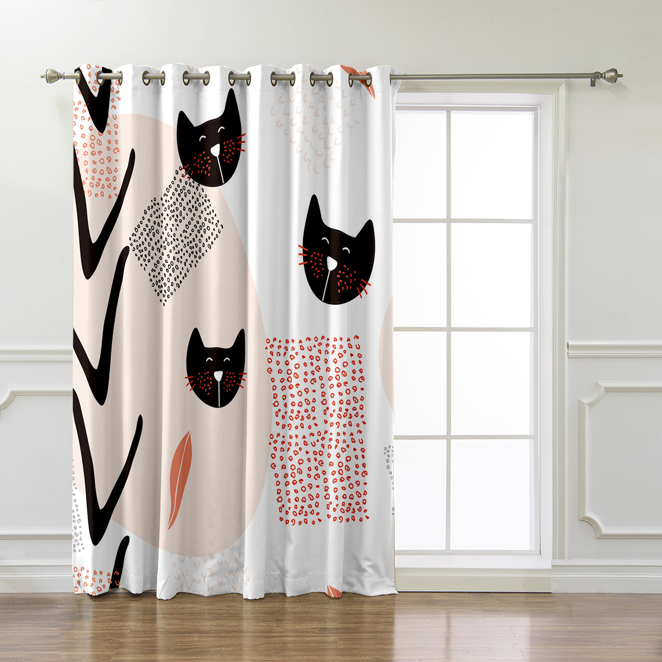 Mordern Kawaii Cat Kitty Nature Window Curtains Dark Curtains