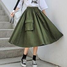 Японские Мори девушка длинные юбки для женщин Высокая талия армейский зеленый зонтик юбки карман женский хлопок миди Saia сплошной цвет