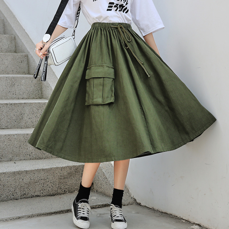 Japanese Mori Girl Long Skirts Women High Waist Army Green Umbrella Skirts Pocket Female Cotton Midi Saia Solid Color