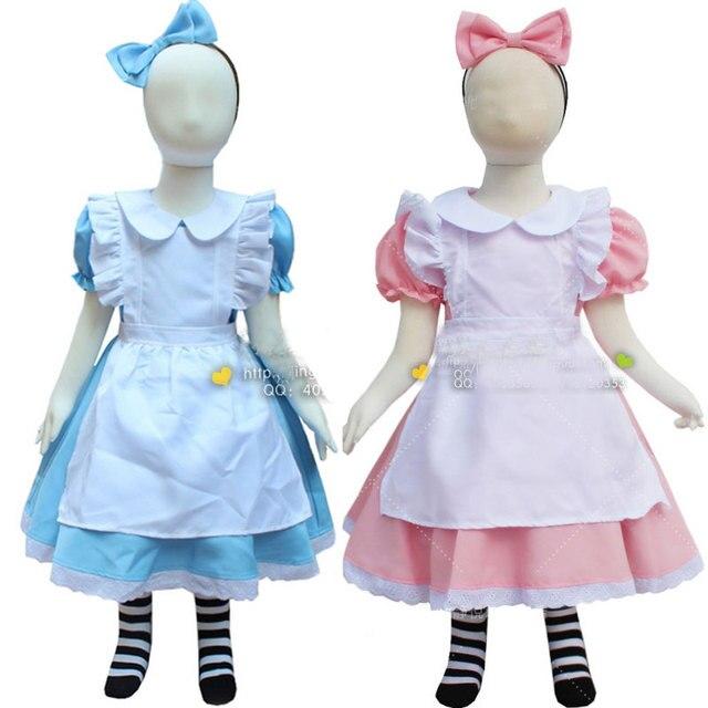 Blau Rosa Baby Mädchen Lolita Kleid Alice im Wunderland Kostüm ...