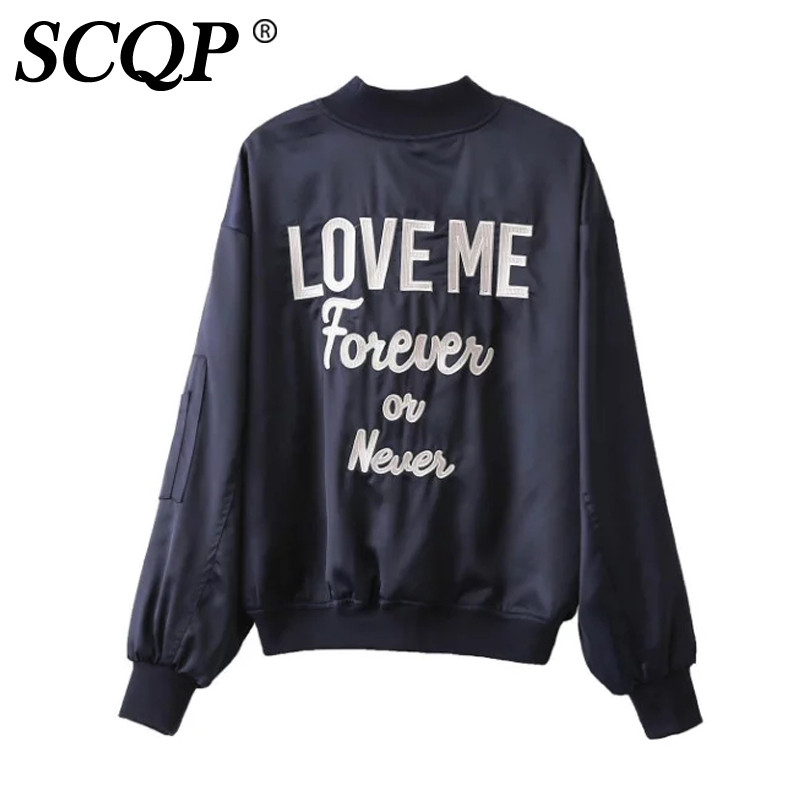 SCQP Store SCQP Fashion LOVE Letter Embroidered Bomber Jacket Ladies Zipper Satin Fall Jackets Women Winter College Casual 2016 Coat Women