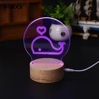 Creative Cute Modeling Lamp Night Light Bulb Colorful Whale Style Remote Control Gadget Study Home Glow