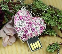 Wholesalas genuine capacity 10pcs/lot crystal heart 4gb 8gb 16gb 32gb usb flash drive free shipping+drop shipping