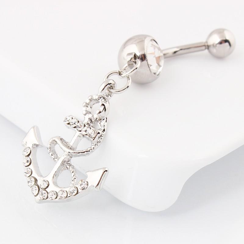пупок кольца бесплатная доставка якорь мотаться живота кольцо оптовая продажа ювелирных изделий тела 14 г хирургическая сталь бар кристалл драгоценных камней