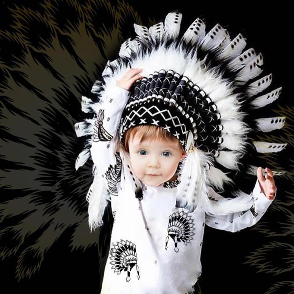 Children Party American Native Indian Feather Headdress Hat Photography Prop New
