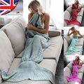 Adult Mermaid Tail Blankets Handmade Crocheted Cocoon Sofa Beach Knit Quilt Rug