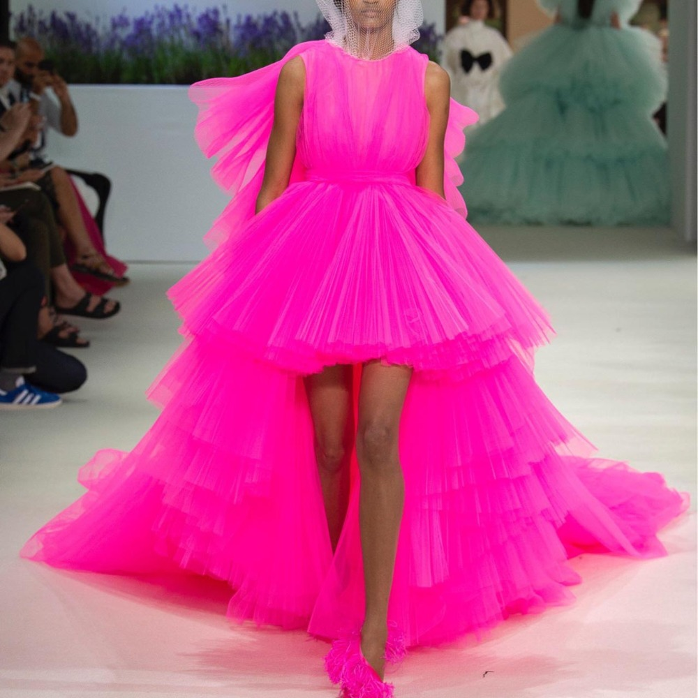 Hot Pink Hi Low Tiered Tulle Prom Party Dresses Long Train Formal Dress Puffy Tulle Chic Evening Gowns 2019 Robe de soiree