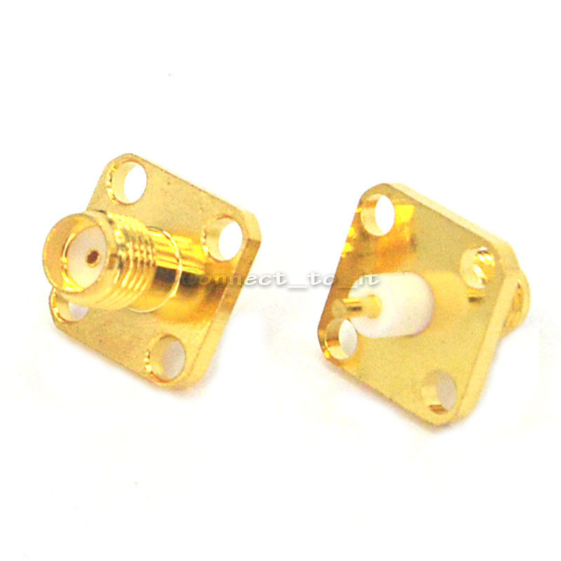 (100 pieces/lot)  SMA female 4 hole panel mount Jack solder Post terminal connector-in Connectors from Lights & Lighting    3