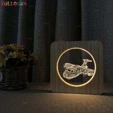 3D Airplane LED Lamp USB Power Decoration Night Light with Wooden Base for Bedroom