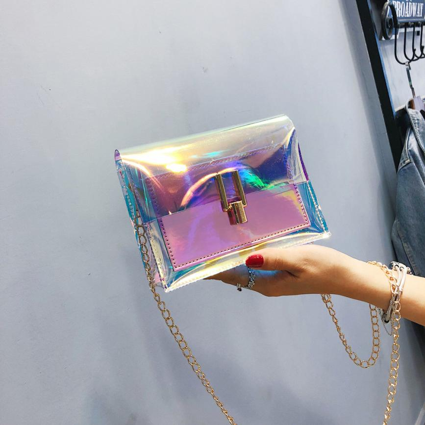 Women Shoulder Bag Fashion Laser Transparent Crossbody Bags Messenger Shoulder Beach Bag 2019 New Design Shoulder Bags(China)
