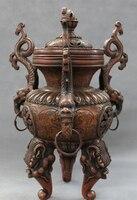 USPS to USA S1187 12 Marked Chinese Bronze 3 Dragon Lion Head Statue Tibet Incense Burner Censer (B0413)