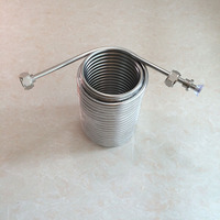 15m Long Double Layer Stainless steel cooling coil ,Cooling Draft Brew Beer for joceky box with 5/8'G connector