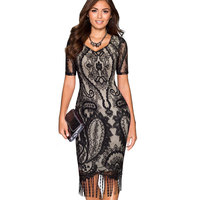 Black Lace Sexy Dresses Women Hollow Out V Neck Short Sleeve Tassel Business Work Office Casual