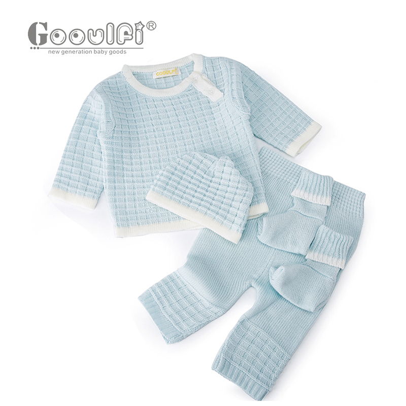 Gooulfi Newborn Clothes Casual Pullover Knitted Sweater 4 Pieces Set Fall Winter Baby Boy Girl Clothes Infant Clothing Set