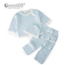 Gooulfi Одежда для новорожденных Повседневный пуловер вязаный свитер комплект из 4 предметов, осенне-зимняя одежда для маленьких мальчиков и девочек комплект одежды для младенцев