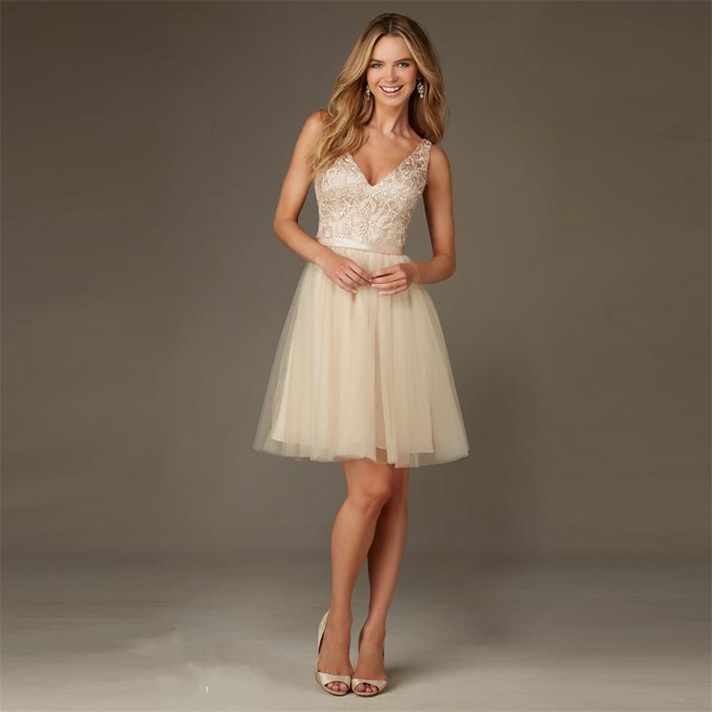 Short champagne beach bridesmaid dresses under 100 for for Short champagne wedding dress