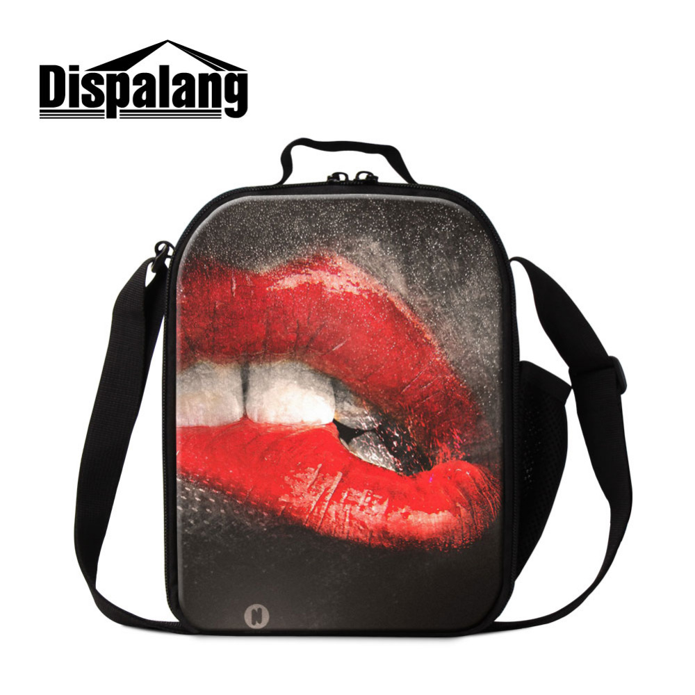 Dispalang Women Lunch Bag Red Lips Thermal Cooler Personalized Insulated Lunch Bag For Kids Picnic Food Bags For Teenager Girls