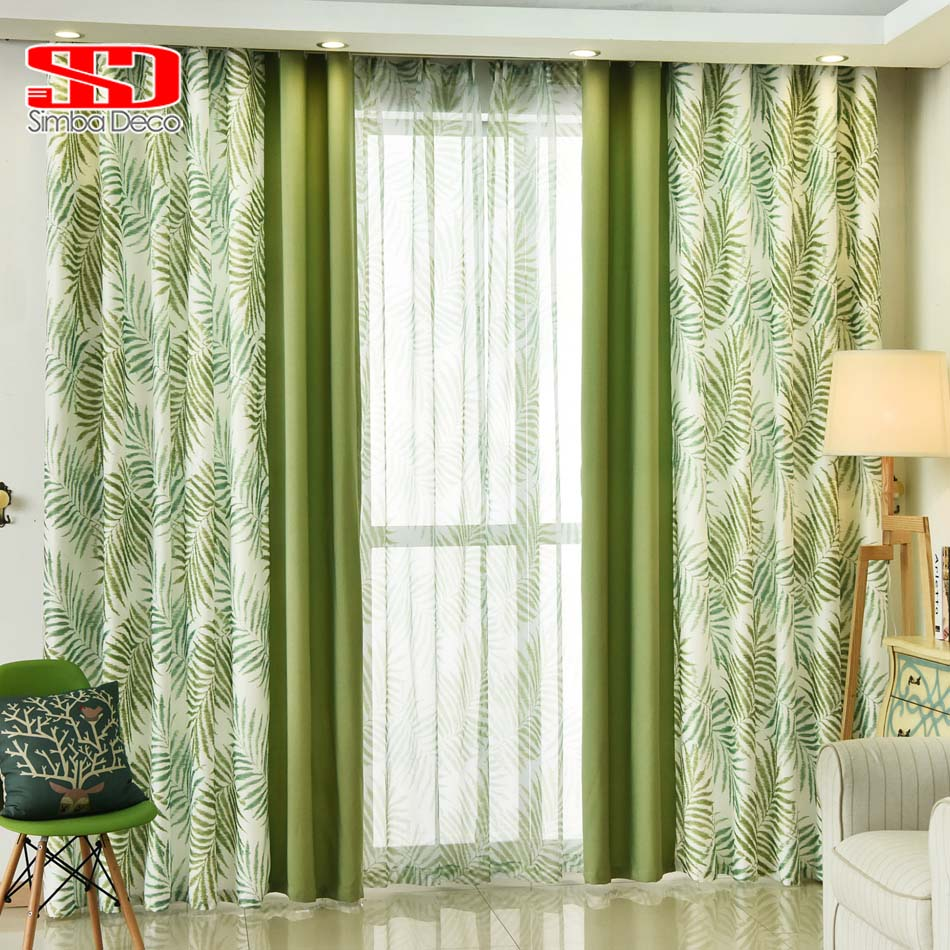 Green bedroom curtains - Natural Leaves Cotton Curtains For Living Room Bedroom Drapes Printed Green American Curtains Fabric Tulle Window