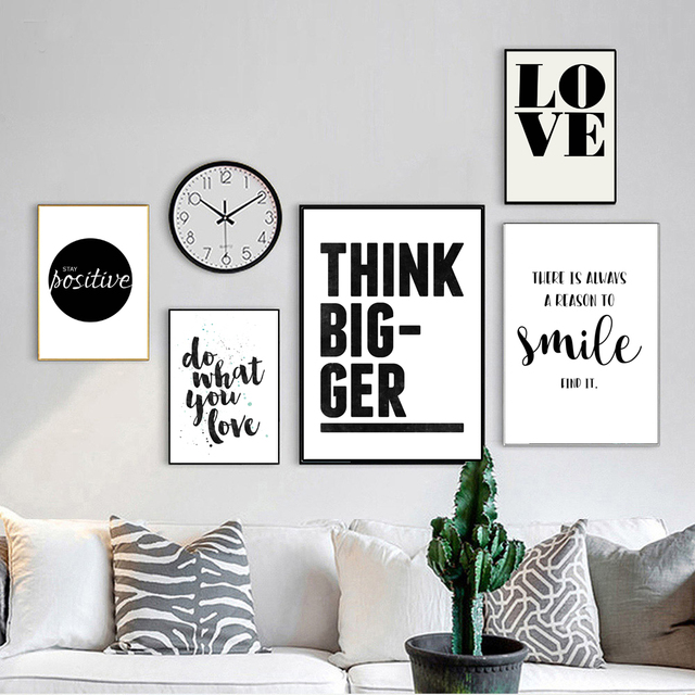 Smile Simple Quote Motivational Poster Prints Black White Wall Art Canvas Painting Education Picture Home Decor
