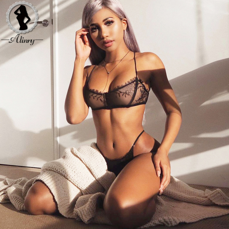ALINRY sexy   bra     set   lace women wire free bralette lingerie halter mesh transparent seamless panties intimate underwear lenceria