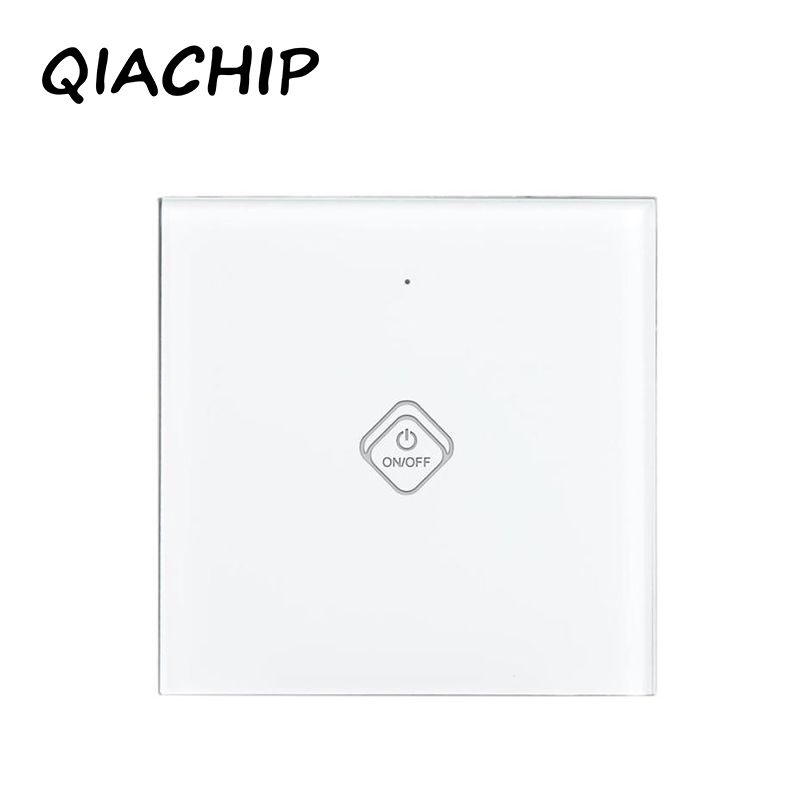 QIACHIP EU Stanard Touch Switch White Crystal Glass Panel 1 Gang 1 Way Touch Switch Light Wall Touch Screen Switch AC 90-250V touch switch 2 way 1 gang black white crystal glass switch panel wall light touch screen switch 110 220v ac hot