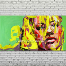Palette knife portrait Face Oil painting Character figure canva Hand painted Francoise Nielly wall Art picture for living room81