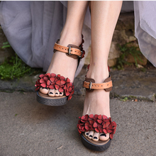 Artmu Original Summer New Retro Flowers Thick Heels Women Sandals Sheepskin Platform High Heels Genuine Leather Handmade Sandals цены онлайн