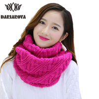 DARIAROVA Tube Scarf Women Winter Warm Knitted Scarves Collar Cachecol Inverno Ring Crochet Infinity Scarf Loop