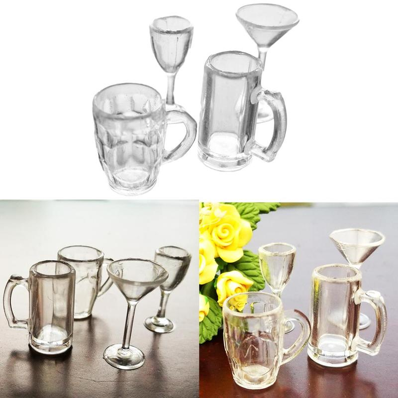 4 pcs 1//12 Doll house Miniature kitchen tableware plastic beer mug glass cups vb