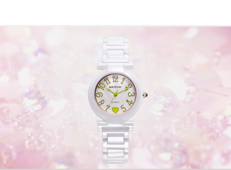 2018 new digital dial ceramic strap watch casual fashion exquisite precision popular women's business quartz watch